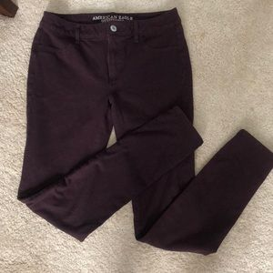 American Eagle eggplant jeggings size 10 X Long